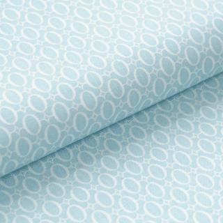 Leichter Baumwollstoff - Babyblau mit weißen Ovalen - von Gütermann