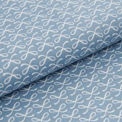 Leichter Baumwollstoff - Graublau mit Schleifen - von Gütermann