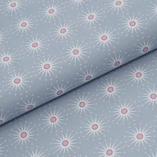 Leichter Baumwollstoff - Taubenblau mit großen Sternen - von Gütermann