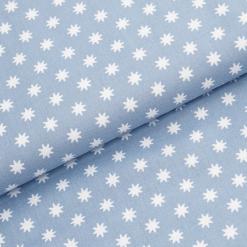 Leichter Baumwollstoff - Taubenblau mit weißen Sternen - von Gütermann
