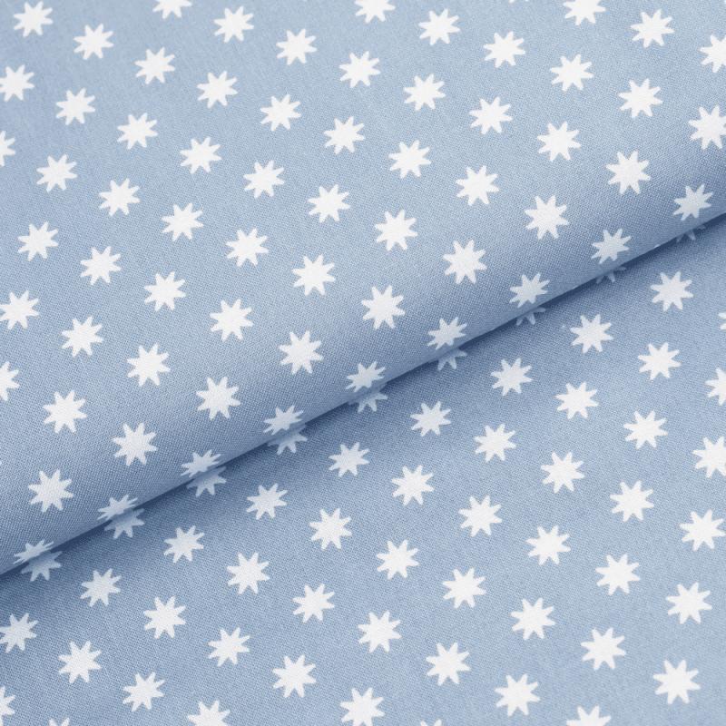Leichter Baumwollstoff - Taubenblau mit weißen Sternen ...