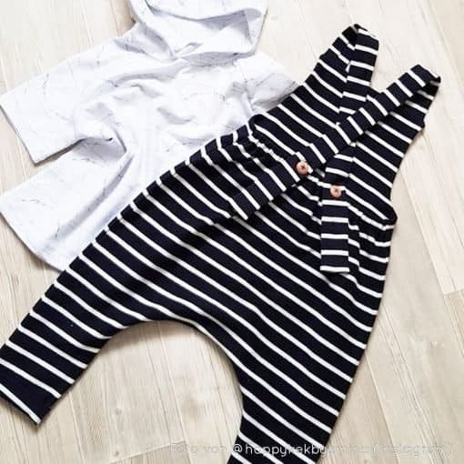 French Terry - dünner Sweatshirtstoff - Dunkelblau mit weißen Streifen