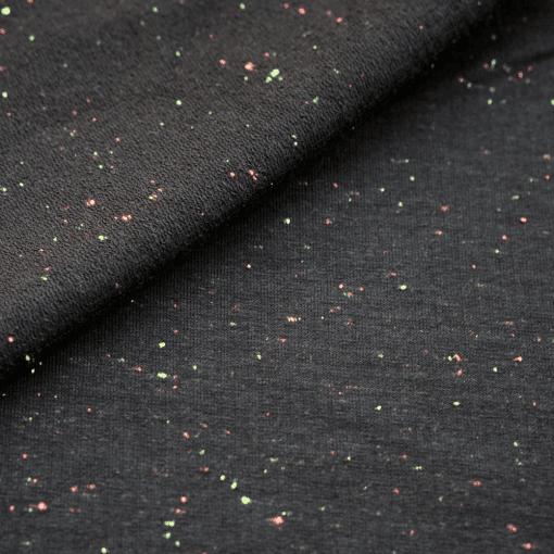 French Terry - dünner Sweatshirtstoff - Schwarzgrau mit neonfarbenen Sprenkeln