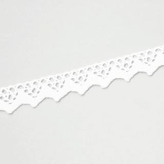 Baumwollspitze mit großen Zacken - 18 mm - Weiß