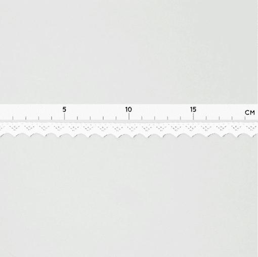 Baumwollspitze mit kleinen Zacken - 12 mm - Weiß