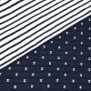 Bio Doubleface Jersey - Blau-Navy/ Weiß - gemustert/gestreift - Design von Huebs.ch