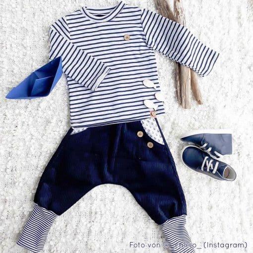 Doubleface Jersey Bio Blau Navy Weiß gemustert huebs-ch