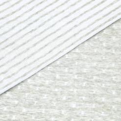 Bio Doubleface Jersey - Hellgrau meliert/ weiß - gemustert/gestreift - Design von Huebs.ch