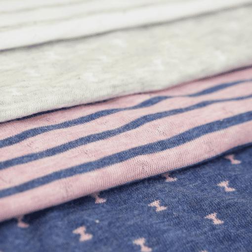 Bio Doubleface Jersey – Jeansblau/ Rosa meliert – gemustert/gestreift – Design von Huebs.ch