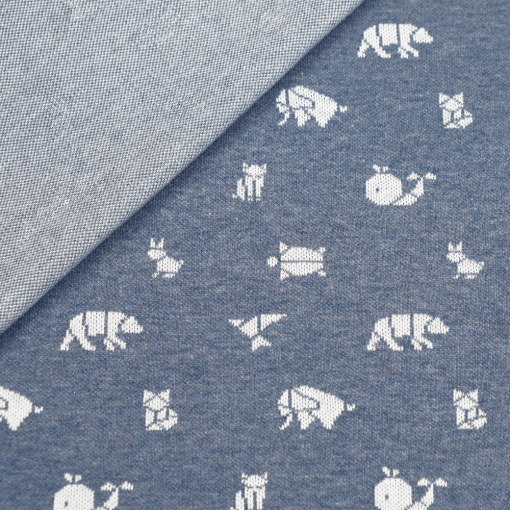 Bio Jaquard Jersey - Jeansblau meliert/ weiß mit Origami Tieren - Design von Huebs.ch
