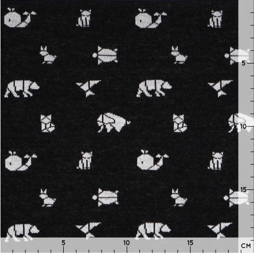 Bio Jaquard Jersey - Schwarz/ weiß mit Origami Tieren - Design von Huebs.ch