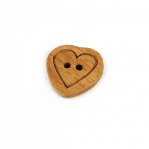 Holzknopf mit Herz - 20 mm - 2 Loch