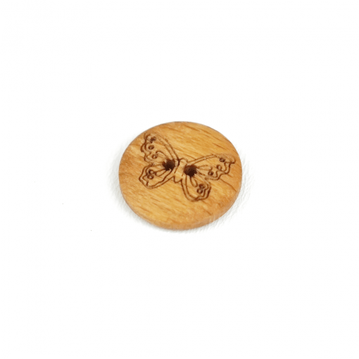 Holzknopf mit Schmetterling - 15 mm - 2 Loch
