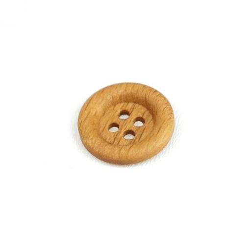 Holzknopf rund mit Rand - 18 mm - 4 Loch