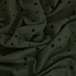 Single Jersey - Dunkles Olivgrün meliert mit Punkten