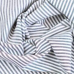 Baumwollstoff mit 3 mm Streifen Dunkelblau/ weiß gestreift