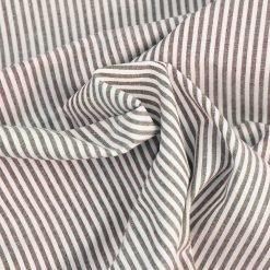 Baumwollstoff 3mm Streifen Schokobraun-weiß gestreift