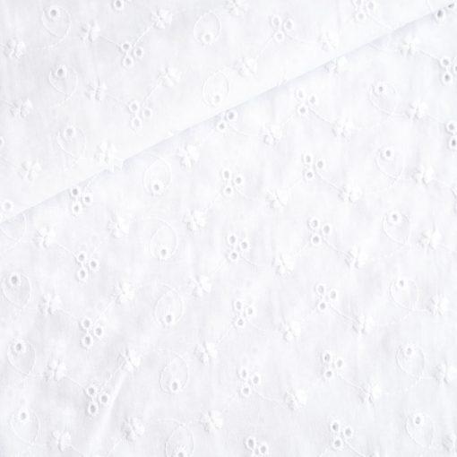 Baumwolle mit Lochstickerei - Broderie Anglaise - Weiß