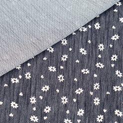 Denim Jersey - Jeans Navyblau mit weißen Blümchen