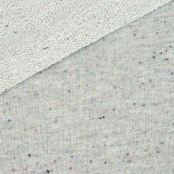 French Terry – grobe Schlaufenoptik – Hellgrau meliert mit farbigen Sprenkeln