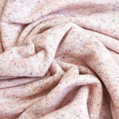 French-Terry grobe Schlaufenoptik Rose-Lachs mit farbigen Sprenkeln