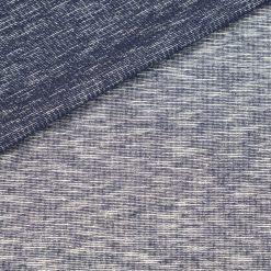 French Terry - dünner Sweatshirtstoff - Dunkelblau/Warmweiß melange gestreift