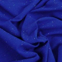 French Terry - dünner Sweatshirtstoff - Royalblau mit neonfarbenen Sprenkeln