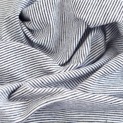 Single Jersey - Dunkelblau/ Weiß Mini-Streifen