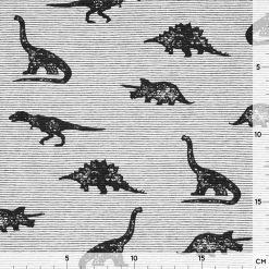 Single Jersey - Schwarz/ Weiß Mini-Streifen mit Dinos