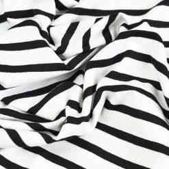 Single Jersey - Weiß mit schwarzen Streifen
