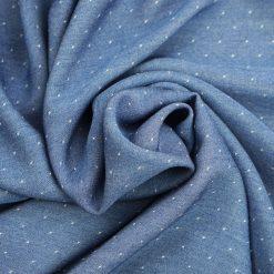 Chambray Jeansblau gepunktet
