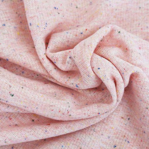 French Terry – grobe Schlaufenoptik – Rosa mit farbigen Sprenkeln