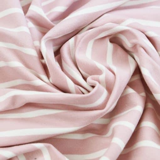 French Terry - dünner Sweatshirtstoff - Helles Altrosa mit weißen Streifen