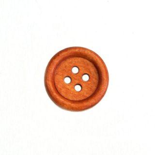 Holzknopf rund mit Rand - 20 mm - helles Rotbraun - 4 Loch