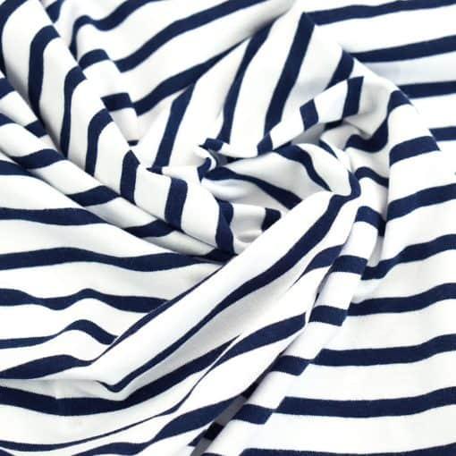 Single Jersey - Weiß mit 5mm Dunkelblauen Streifen