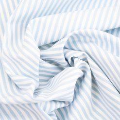 Baumwollstoff mit 3 mm Streifen Hellblau/ weiß gestreift