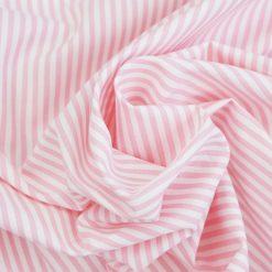 Baumwollstoff mit 3 mm Streifen Rosa/ weiß gestreift
