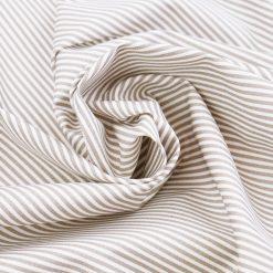 Baumwollstoff Taupe/ Weiß 2 mm Streifen