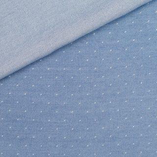 Chambray helles Jeansblau gepunktet