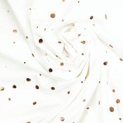 Single Jersey - Weiß mit kupferfarbenen Punkten