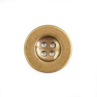 Knopf rund mit Rand 25mm Kunststoff Altgold 4-Loch