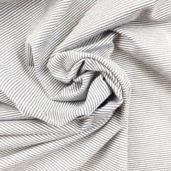 Single Jersey - Silbergrau / Weiß 1 mm gestreift