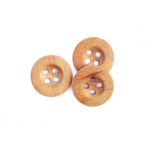 Holzknopf rund mit Rand 25 mm 4-Loch