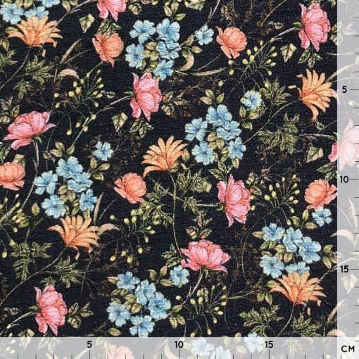 Baumwollstoff in Leinenoptik - weicher Griff - Floral Schwarz