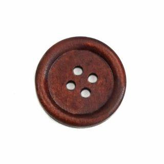 Holzknopf rund mit Rand 25mm kirschbraun lackiert 4-Loch