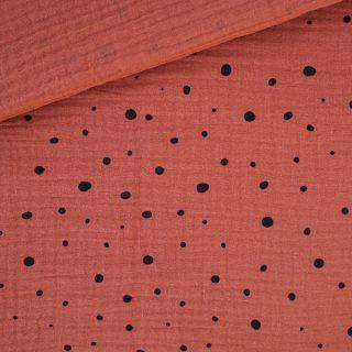 Musselin Rost-Orange mit Punkten