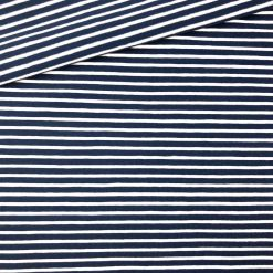 Single Jersey Dunkelblau mit 2 mm weißen Streifen