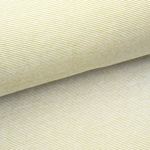 Bündchen Ockergelb Weiß 1mm gestreift