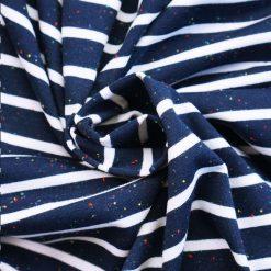 Single Jersey Dunkelblau/Weiß gestreift mit Sprenkeln