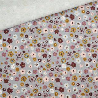 Single Jersey Mittelgrau mit Streublümchen